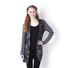 Knitwear by Etoile Animal Front Stripe Cardigan