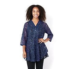 Sequin Lace Double Dip Hem Shirt by Michele Hope