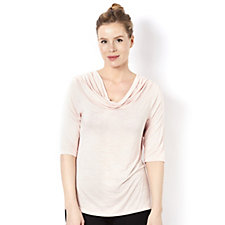 Marble 3/4 Sleeve Cowl Neck Top