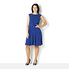 Spot Print Side Pleat Dress by Nina Leonard