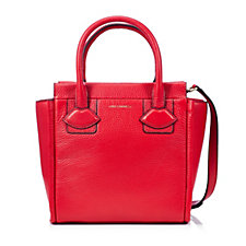 Lulu Guinness Small Lyra Grainy Leather Tote Bag with Lip Applique