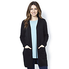 Isaac Mizrahi Live Essentials Open Front Cardigan with Pockets