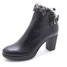 Manas Leather Ankle Boot with Faux Fur Trim and Buckle Detail