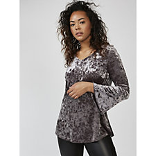 Isaac Mizrahi Live V Neck Crushed Velvet Top with Long Fluted Sleeves