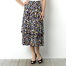 Kim & Co Butterflies Print Brazil Knit Double Frill Skirt