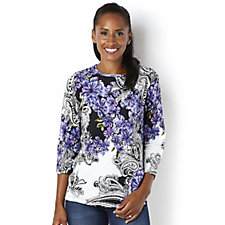 Artscapes Knossos Violet Greece 3/4 Sleeve Round Neck Top