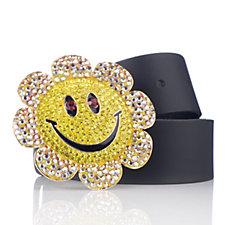 Butler & Wilson Smiley Face Flower Buckle Leather Belt