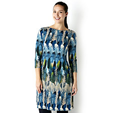 Attitudes by Renee 3/4 Sleeve Feather Printed Jersey Duster Tunic