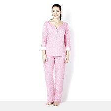 Carole Hochman 3/4 Sleeve Printed Henly PJ Set