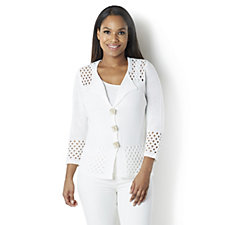 Marble Pointelle 3 Button Cardigan with Crochet Hem