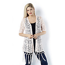 Absolutely Famous Pointelle Open Front Cardigan with Fringe Hem