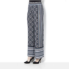 Attitudes by Renee Pull On Border Print Trouser