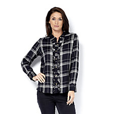 C. Wonder Check Carrie Blouse Ruffle Placket