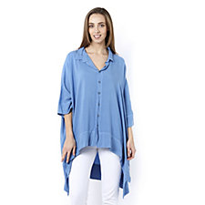Join Clothes Button Front Dip Back Hem Shirt