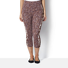 Logo by Lori Goldstein Printed Trouser with Ruched Hem Detail