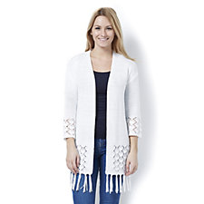Marble Edge to Edge Loose Fit Cardigan with Pointelle and Fringe Detail