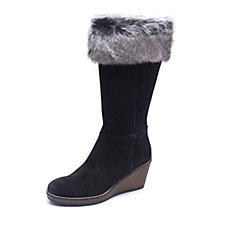 Manas Knee High Suede Boot with Faux Fur Detail