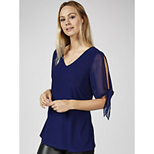 Coco Bianco V Neck Top with Split Detail Chiffon Sleeves