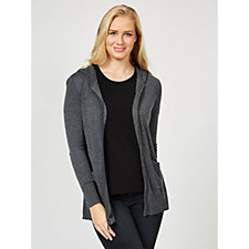 H by Halston Sweater Hoodie with Zipper Front Patch Pockets