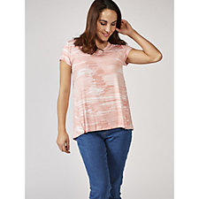 H by Halston Printed Scoop Neck T-Shirt