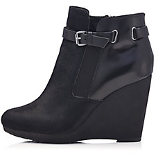 Clarks Note Crisp Leather Mix Wedge Heel Ankle Boot