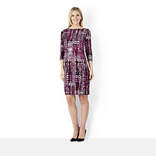 Attitudes by Renee 3/4 Sleeve Animal Printed  Jacquard Dress