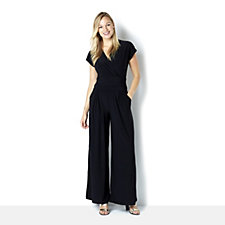 Attitudes by Renee Jersey Front Wrap Jumpsuit