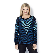 160219 - Bob Mackie Printed Jewel Neck Knitted Top
