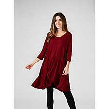 Yong Kim Crinkle 3/4 Sleeve Wide Hem Tunic Dress