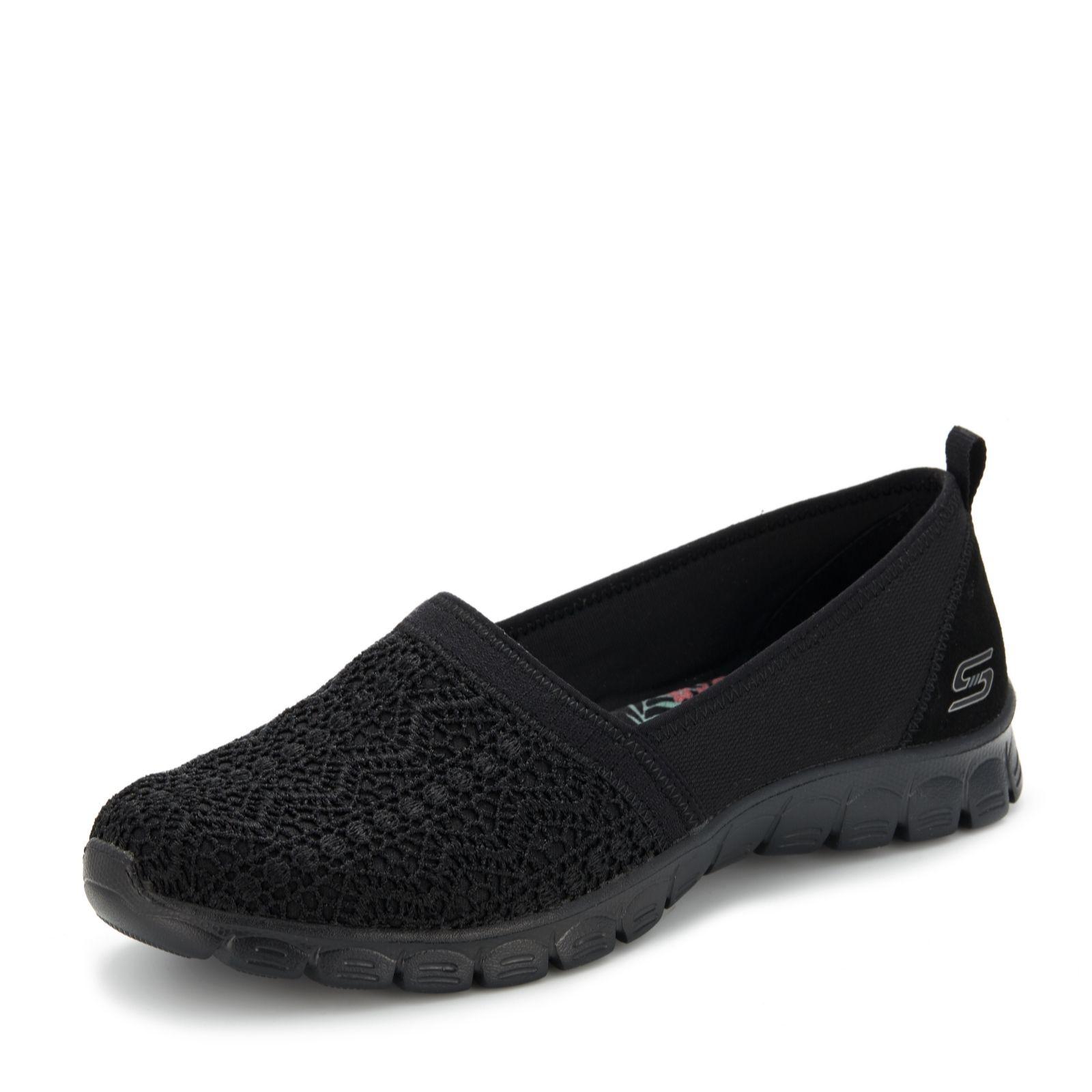 sketchers black boots. skechers ez flex 3.0 duchess crochet slip on shoe - 163119 sketchers black boots