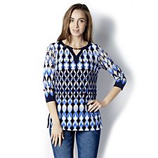 Printed Liquid Knit Keyhole Trim Tunic by Susan Graver