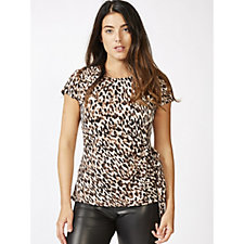 Coco Bianco Printed Short Sleeve Top with Side Tie Detail