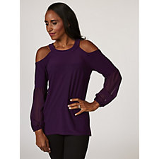 Coco Bianco High Neck Cold Shoulder Top with Chiffon Sleeves