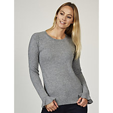 In Cashmere Crew Neck Jumper With Flounce Cuff Detail
