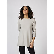 Kim & Co Brazil Knit 3/4 Sleeve High Low Tunic