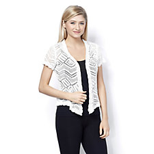 Absolutely Famous Short Sleeve Pointelle Shrug