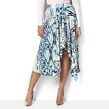 160620 - Andrew Yu Blue Waves Print Dip Hem Skirt