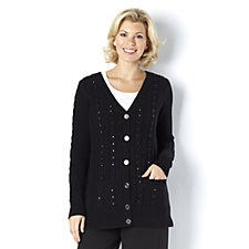 C. Wonder Boyfriend Cable Knit Cardigan with Faceted Embellishments