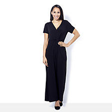 Kim & Co Brazil Knit Twist Front Wide Leg Petite Jumpsuit