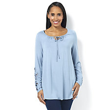 Together Crochet Detail Tie Front Long Sleeve Top