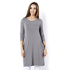 Join Clothes 3/4 Sleeve Dress with Drape Pocket Detail
