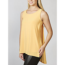 Sleeveless Scoop Neck Hi Low Hem Top by Nina Leonard