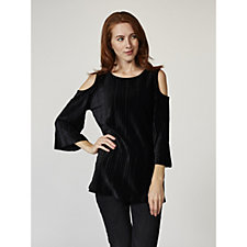 Dennis Basso Pleated Stretch Velvet Cold Shoulder Top