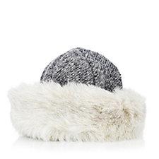 Dennis Basso Tweed Hat with Faux Fur Trim