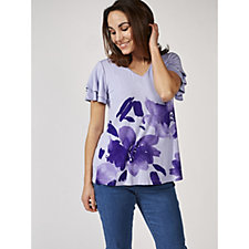 H by Halston Flutter Sleeve Engineered Floral Print Knit Top