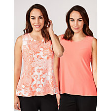 Attitudes by Renee Pack of 2 Printed & Plain Sleeveless Tops