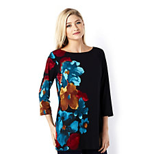 153621 - Liquid Knit Floral Placement Print Top by Susan Graver