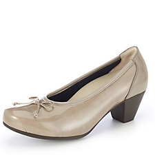 Vitaform Patent PU Stretch  and Leather Court Shoe with  Bow Detail