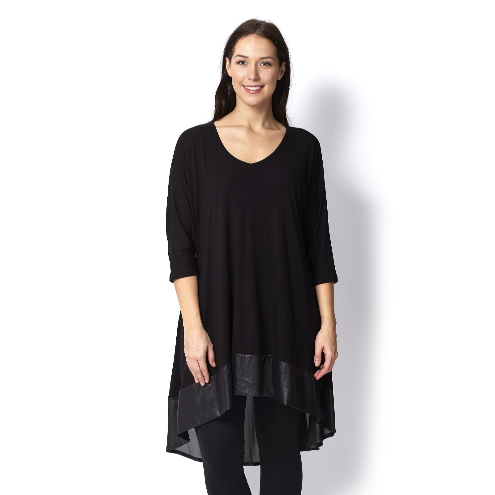 Join Clothes V Neck Jersey Tunic with Dip Back Hem & Lux Border