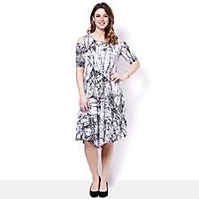 Yong Kim Crinkle Open Shoulder Printed Dress